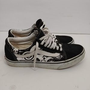 Vans Black and White Leather Canvas Skull Shoes